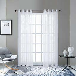 Lyndale Pico Grommet Sheer Window Curtain Panel in White