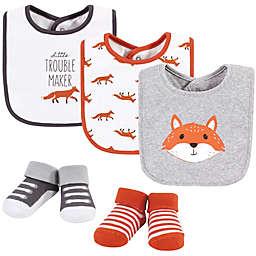 Hudson Baby® Size 0-9M Little Fox 5-Piece Bib and Sock Set in Orange
