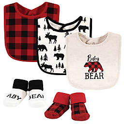Hudson Baby® Size 0-9M Bear Plaid 5-Piece Bib and Sock Set in Red
