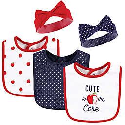 Hudson Baby® Size 0-9M 5-Piece Apple Bib and Headband Set in Red