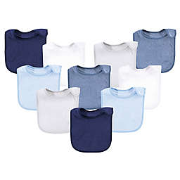 Hudson Baby® 10-Pack Rayon from Bamboo Basic Terry Solid Color Drooler Bibs in Blue