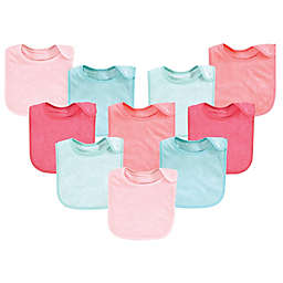 Hudson Baby® 10-Pack Rayon from Bamboo Basic Terry Solid Color Drooler Bibs in Coral