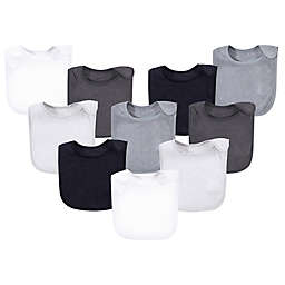 Hudson Baby® 10-Pack Rayon from Bamboo Basic Terry Solid Color Drooler Bibs in Black/Grey
