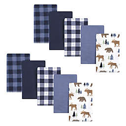 Hudson Baby® 10-Pack Moose/Bear Cotton Flannel Burp Cloths in Blue