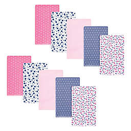 Hudson Baby® 10-Pack Tiny Berry Cotton Flannel Burp Cloths in Pink