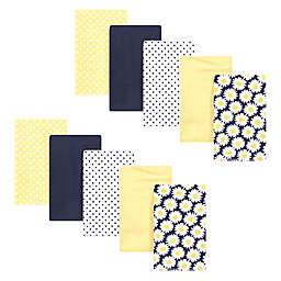 Hudson Baby® 10-Pack Daisy Cotton Flannel Burp Cloths in Yellow/Navy