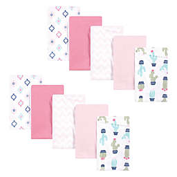 Hudson Baby® 10-Pack Cactus Cotton Flannel Burp Cloths in Pink