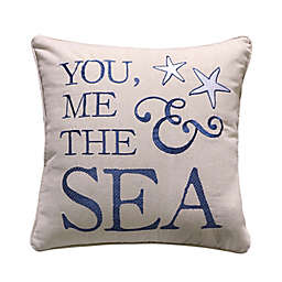 """Levtex Home Blue Bay """"You, Me and the Sea"""" Square Throw Pillow in Natural"""