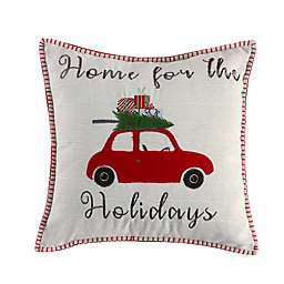 Levtex Home Road Trip Home For The Holidays Square Throw Pillow in White