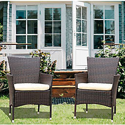 Boyel Living 2-Piece Rattan Patio Armchair Seat with Cushions in Brown