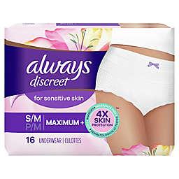 Always® Discreet Underwear Size Small/Medium 16-Count Overnight Maximum