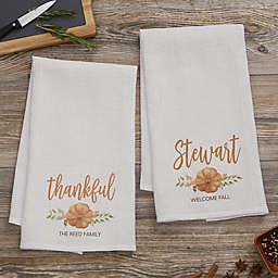 Seasonally Script Personalized Fall Waffle Weave Kitchen Towel