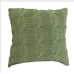 A&B Home Cable Knit Square Throw Pillow in Green