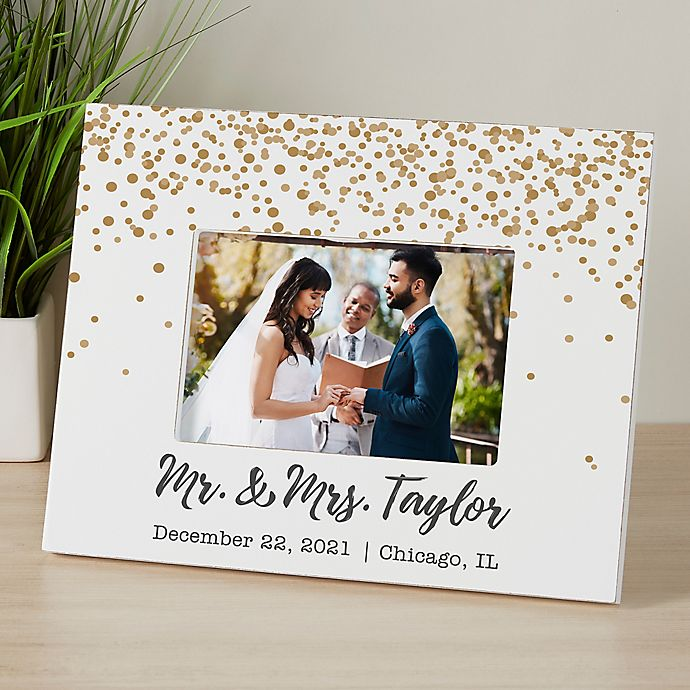 Alternate image 1 for Sparkling Love Personalized Wedding Picture Frame
