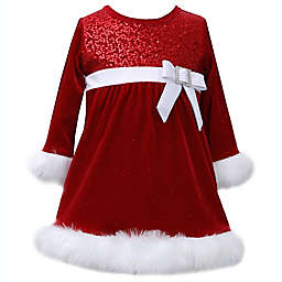 Bonnie Baby Size 6-9M Velvet and Faux Fur Holiday Dress in Red/White