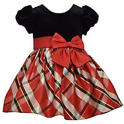 Bonnie Baby Size 6-9M Velvet and Plaid Taffeta Dress in Red/Black