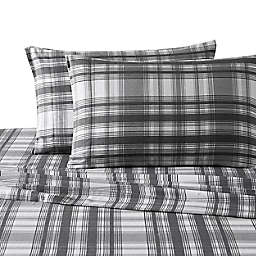 UGG® Plaid Flannel King Sheet Set in Charcoal