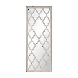 A&B Home Distressed 23.6-Inch x 59.4-Inch Rectangular Floor Mirror in White/Natural