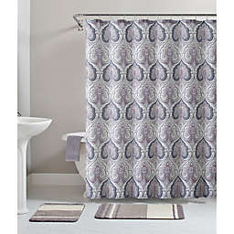 VCNY Home Beryl Damask 72-Inch x 72-Inch Shower Curtain in Purple