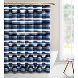 VCNY Home Bryan Embossed Stripe 72-Inch x 72-Inch Shower Curtain in Navy