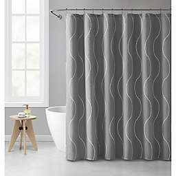 VCNY Home Camila Embroidered Wave 72-Inch x 72-Inch Shower Curtain in Grey