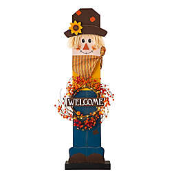 Glitzhome® 42.13-Inch Pre-lit Fall Wooden Scarecrow Indoor/Outdoor Porch Decor with Wreath