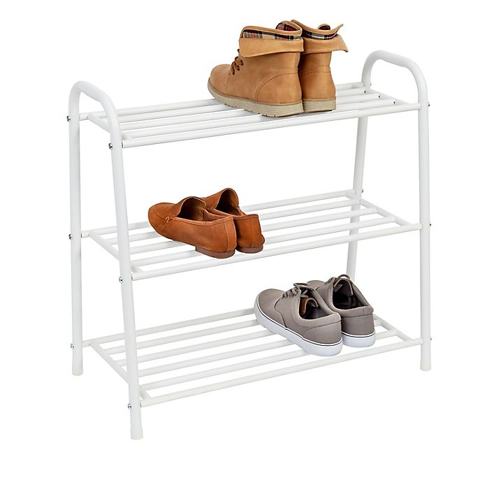 Alternate image 1 for Honey-Can-Do® 3-Shelf Steel Shoe Rack in Matte White