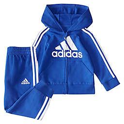 adidas® Size 12M 2-Piece Melange Fleece Jacket and Pant Set in Royal Blue