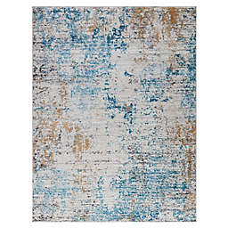 Madison Park Newport Abstract 6'6 x 9' Area Rug in Cream/Blue