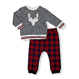 Mini Heroes™ Size 12M 2-Piece Antler Long Sleeve Top and Pant Set in Grey