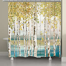 Laural Home® 71-Inch x 72-Inch Birches of Autumn Shower Curtain in Gold