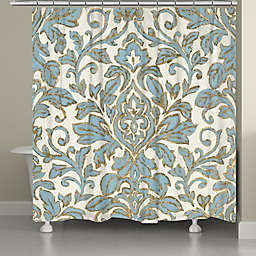 Laural Home® 71-Inch x 72-Inch Antique Damask Shower Curtain in Blue