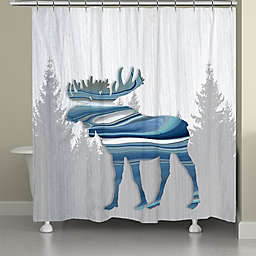 Laural Home® 71-Inch x 72-Inch Moose Lodge Shower Curtain in Blue