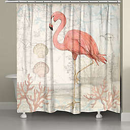 Laural Home® Coastal Flamingo 71-Inch x 72-Inch Shower Curtain in Pink