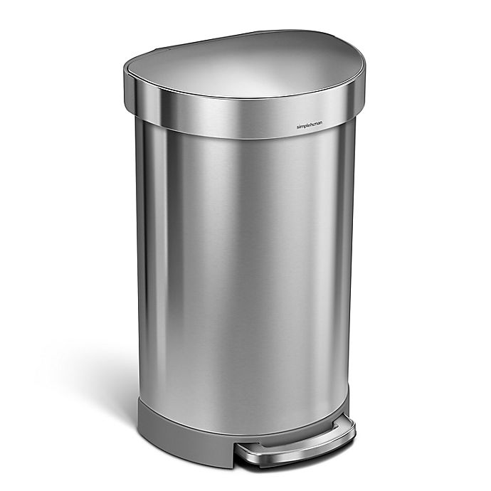 Alternate image 1 for simplehuman® Stainless Steel 45-Liter Semi-Round Liner Rim Step Trash Can