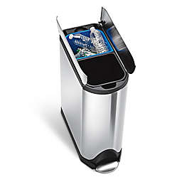 simplehuman® Brushed Stainless Steel Fingerprint-Proof 40-Liter Butterfly Recycler Trash Can