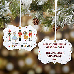 Nutcracker Family 4-Inch x 2.75-Inch Metal Personalized Christmas Ornament
