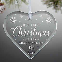 First Christmas as Grandparents 3-Inch x 3.5-Inch Glass Personalized Heart Christmas Ornament