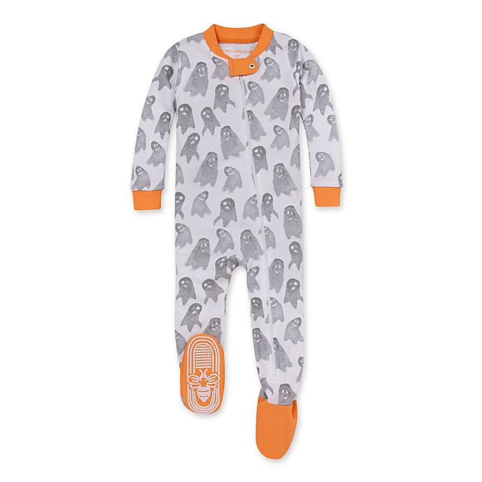 Alternate image 1 for Burt's Bees Baby® Ghosties and Goblins Orgsnic Cotton Sleep Play Footie in Marigold