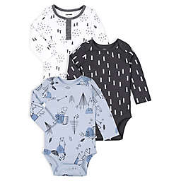 Lamaze® 3-Pack Mountain Bear Super Combed Natural Cotton Long Sleeve Bodysuits in Blue