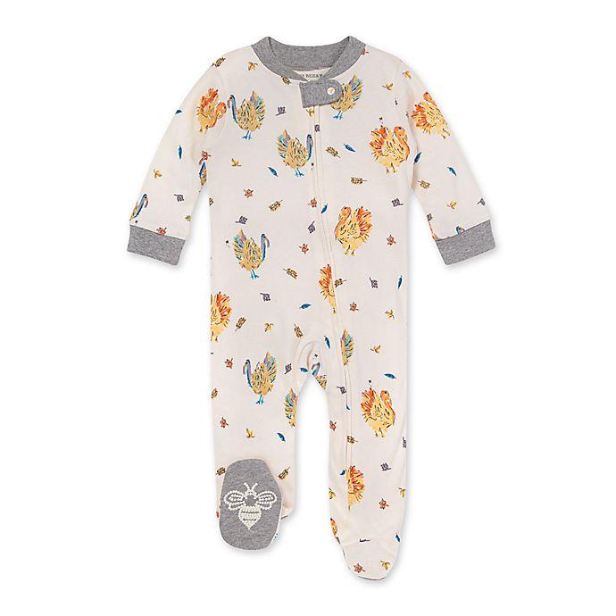Alternate image 1 for Burt's Bees Baby® Turkey Trot Organic Cotton Sleep & Play Footie in Heather Grey