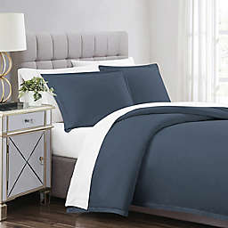 Charisma Full/Queen Solid Duvet Cover Set in Blue