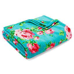 Betsey Johnson® Bouquet Day Ultra Soft Plush Blanket in Aqua