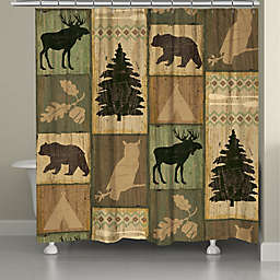Laural Home Gone Camping Standard Shower Curtain in Brown