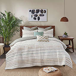 INK+IVY Nea Cotton Printed 3-Piece Full/Queen Coverlet Set with Trims in Multi