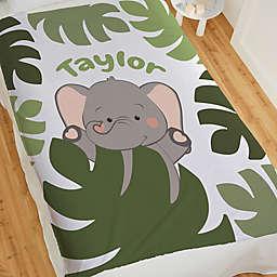 Jolly Jungle Elephant Fleece Baby Blanket in Green
