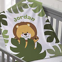 Jolly Jungle Lion Fleece Baby Blanket in Green