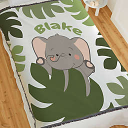 Jolly Jungle Elephant Woven Baby Throw Blanket in Green