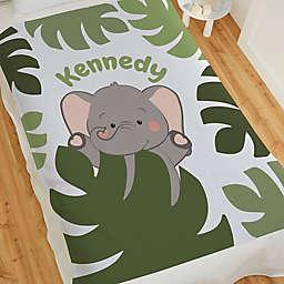 Jolly Jungle Elephant 60-Inch Sweatshirt Baby Blanket in Green