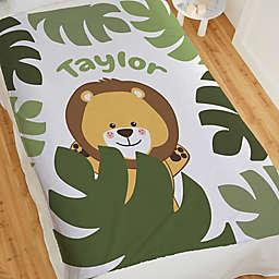 Jolly Jungle Lion 80-Inch Fleece Baby Blanket in Green